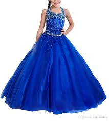 royal blue junior halter gowns girls beaded pageant dresses kids