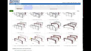 rapidset metal buildings online design price and print plans tool