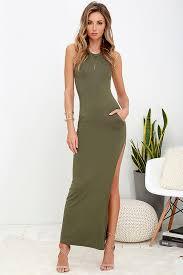shield and sword olive green sleeveless maxi dress trendy