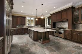 chairs gorgeous kitchen tile flooring design with wooden cabinet