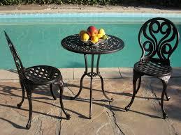 Black Metal Bistro Chairs Patio Chairs Metal Garden Table Set Patio Lounger Aluminium