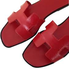 hermès oran epsom sandals patent leather red ref 42355 joli closet