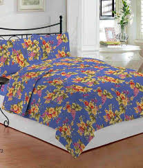 Throw Pillow Covers Online India Bombay Dyeing Blue Double Bed Sheet With 2 Pillow Covers Buy 1
