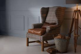 Tartan Armchairs The Callanish And Leather Wing Chair Handcrafted By Indigo Furniture