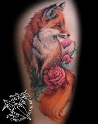 lucky bamboo tattoo tattoos realistic watercolor fox thigh piece