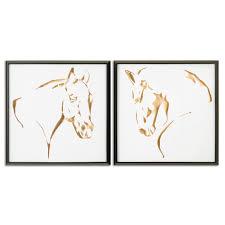 uttermost 34302 golden horses framed art set of 2 homeclick com