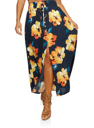 maxi skirt plus size floral front slit maxi skirt rainbow