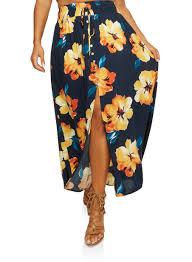 maxi skirt plus size floral front slit maxi skirt rainbow