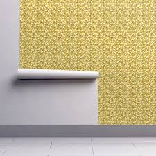 autumn yellow daisy wallpaper by katebillingsley roostery home decor