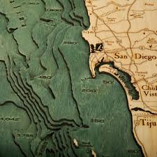 Maps San Diego Los Angeles San Diego Wood Map 3d Nautical Topographic Chart Art