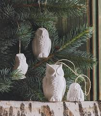 white porcelain snowy owl tree ornaments set of 4