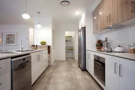Living Dining And Kitchen Design by Great Parallel Kitchen Design With Walk In Pantry At The End