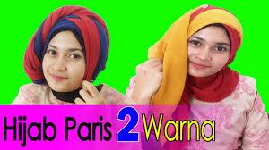 tutorial jilbab dua jilbab 2 cara memakai jilbab paris segi empat dua warna by awmcollection