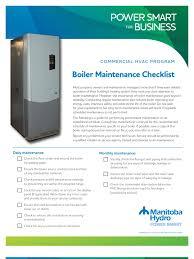 boiler mtce checklist boiler hvac