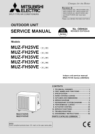 mitsubishi electric muz fh25 35 service manual obh624b mitsubishi electric