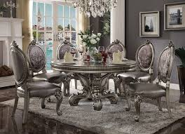 Acme Dining Room Set 66840 Acme Dining Round Table Versailles Collection In Antique