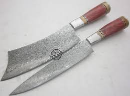 wood handle kitchen knives lot of 2 pcs damascus kitchen knife custom handmade damascus steel
