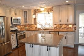 Love The Colors And Stone Wall Look Wouldnt Mind Doing This To - Mobile homes kitchen designs
