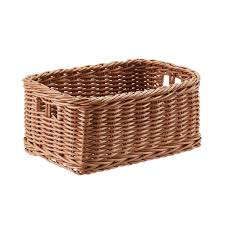 Wicker Desk Accessories by Plastic Wicker Storage Bin With Handles The Container Store