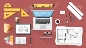 Graphic Designer Desk Architect And Designer Desk With Tools Tablet And Computer