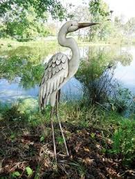 details about garden animal sculpture ornament metal heron with