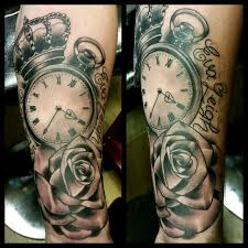 pocketwatch and rose tattoo by thirteen7s on deviantart