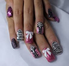 pink and black zebra nails http www fingerpaintedblog com 2012