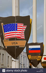 Flags And Flagpoles Shields With Flags Of The United States Of America And The Russian