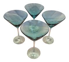 martini transparent 4 vintage aqua blue crystal martini glasses chairish
