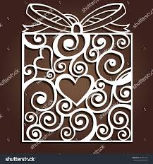 laser cut paper christmas gift merry stock vector 503271724