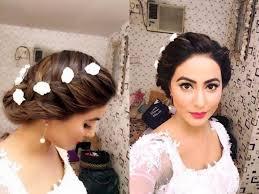 akshara wedding hairstyle akshara aka hina khan looks like a fairy in white wedding gown