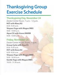 thanksgiving schedule wellness center