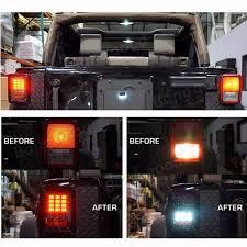 jeep jk led tail light bulb pair smoked led tail light brake reverse drive l for 07 16 jeep