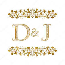 d and j vintage initials logo symbol the letters are surrounded
