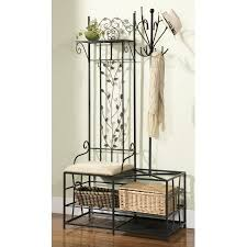 Metal Hall Tree Bench Black Metal Entryway 12 Hook Coat U0026 Hat Rack Hall Tree Stand