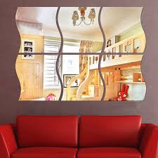 popular tv room design buy cheap tv room design lots from china tv funlife modern 3d mirror surface wall sticker diy wave mirror design for home living room tv