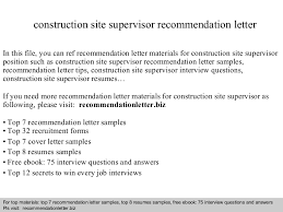 Sample Resume For Construction Site Supervisor by Construction Site Supervisor Recommendation Letter