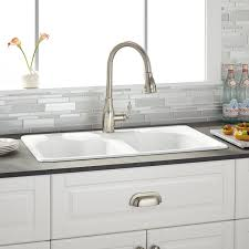 Berwick White Double Bowl Cast Iron Dropin Kitchen Sink Kitchen - Double kitchen sink