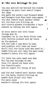 the sun belongs to you lyrics