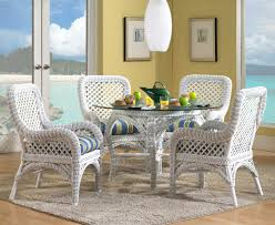 Wicker Dining Set In White - Dining table with rattan chairs
