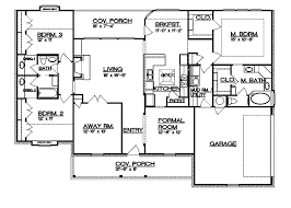 Split Bedroom Plan Floor Plans Aflfpw23177 1 Story Ranch Home With 3 Bedrooms 2