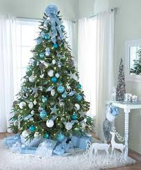 tree decoration blue and silver happy holidays