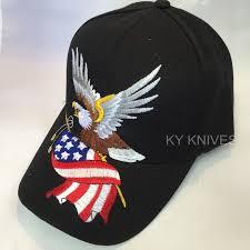 Black Flag Hat Bald Eagle W American Flag Patriotic Embroidered Baseball Cap Hat