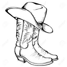 cowboy boots and hat graphic illustration royalty free cliparts