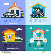 home security system flat vector background stock vector image