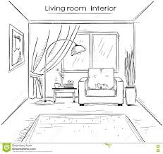 sketchy illustration of living room interior vector black hand d