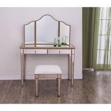 Mirror Vanity Furniture Elegant Lighting Contempo Vanity Table Mirror And Chair Set