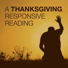 thanksgiving readings from the bible a thanksgiving responsive reading script the skit guys