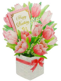 birthday boquet happy birthday flower bouquet tulip pop up greeting card
