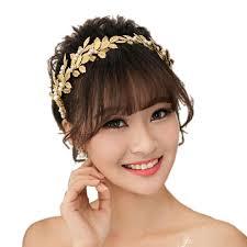 gold headpiece high quality leaf imitation pearl wedding headpiece accessories